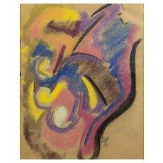 Leon Kelly Abstract Pastel - 20th Century Surrealist