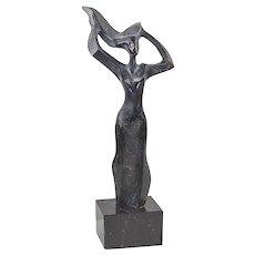 Jose Ramon Poblador Bronze Abstract Modernist Sculpture - Spain