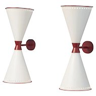 """Jean Royere pair of """"diabolo"""" wall lights"""