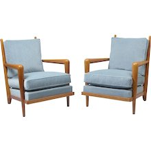 "Jean Royere pair of ""ondulation"" armchairs"
