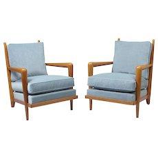 "Jean Royere pair of ""ondulation"" armchairs"