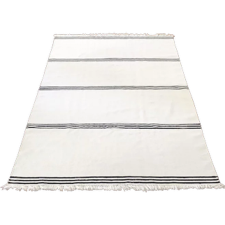 Handwoven Carpet in black and natural white Wool by Vibeke Klint, Denmark 1960's