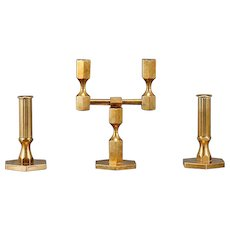 A set of Brass Candleholders by Lars Bergsten for Gusum, Sweden 1966