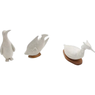 Three white ceramic animals by Gunnar Nylund, Sweden early 1960's.