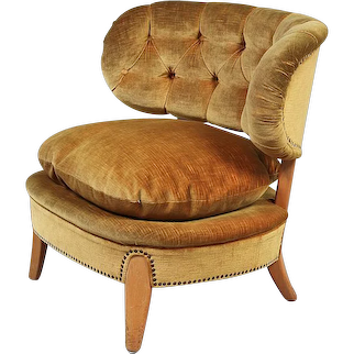An Easy Chairs by Otto Schulz in gold beige Velvet, Sweden 1940's