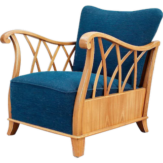 An armchair in birch upholstered in blue cotton, Sweden late 1940's.