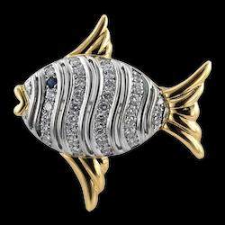 Angel Fish Diamond  Brooch