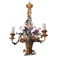 Gilded Chandelier, bronze with flowers in porcelain