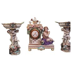 Set of pendule and cups MEISSEN