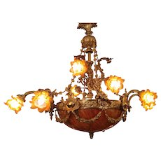 Chandelier early 20th Century Guilded Bronze with Angels decorations  Cup in  Albatros