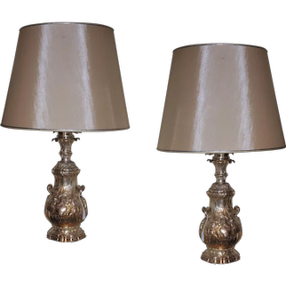 19 th Century Paire of lamps Silver plated bronze decored  with  vegetables motives Signed Gagneau.