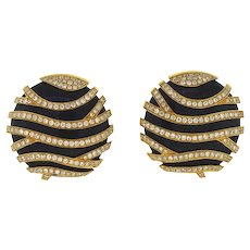 Button Style Earrings Onyx and Gold