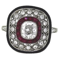 Art Deco Style Diamond and Ruby Ring