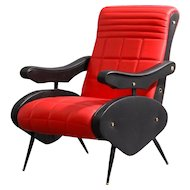 Pair of Italian Red and Black Leather Upholstered Armchairs Attributed to Zanuso