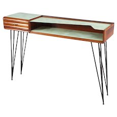 Console table with integrated bench, attributed Ico Parisi, Italy, 1950. Rosewood, two colored drawer. Bench with brown leather.