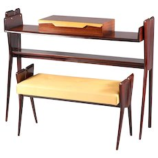 Italian Rosewood Console Table with Integrated Bench Attributed Ico Parisi