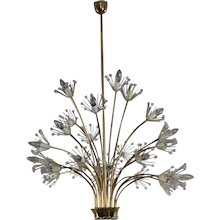 """Huge Emil Stejnar Chandelier """"Pyra"""" from the Vienna Cafe Ohne Pause, 1950"""