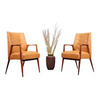 Pair of Walnut Armchairs Designed Architect by Carl Appel, Vienna, 1956