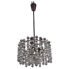 Bakalowits Chandelier Pendant Light, Crystal Glass Nickel, Austria, 1960s