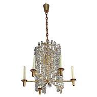 Bakalowits Chandelier Pendant Light, Gilt Brass Crystal Glass, Vienna 1960s