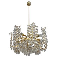 Beautiful Crystal Glass Chandelier by Bakalowits, Vienna, 1950