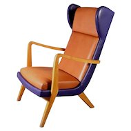 Italian Armchair with brown and blue leather, Mailand, 1950