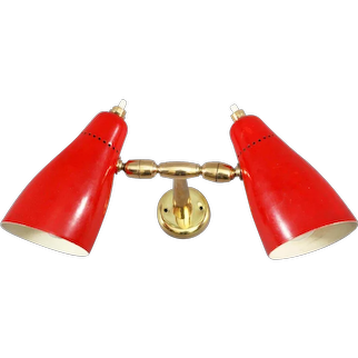 Charming Enamelled Wall Sconces by Stilnovo, Italy, 1950
