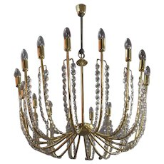 Fully Restored Crystal Glass Chandelier by Kalmar, Vienna, 1950