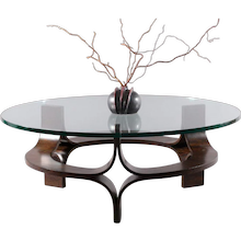 Round Rosewood Mid-Century Modern Sculptural Bentwood Glass Top Coffee Table