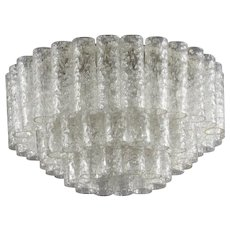 Round Ice Glass Ceiling Flush Mount, Doria Lichtenwerken, 1970
