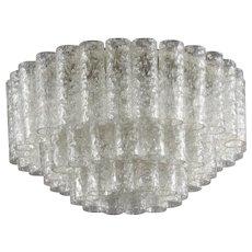 Round Ice Glass Ceiling Flush Mount, Doria Lichtenwerken, 1970