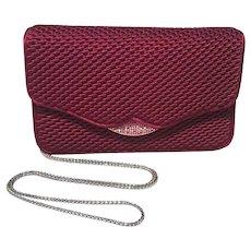 Judith Leiber Dark Red Satin Silk and Swarovski Crystal Evening Bag Clutch
