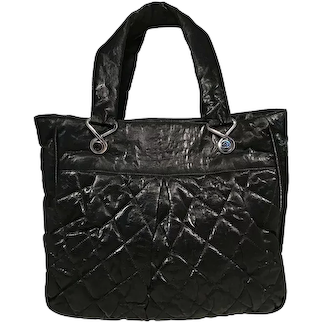 Chanel Black Shimmer Quilted Canvas Le Marais Tote
