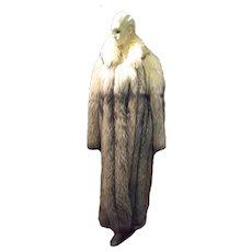 Stunning Womens Blue Fox Fur Coat Size Large