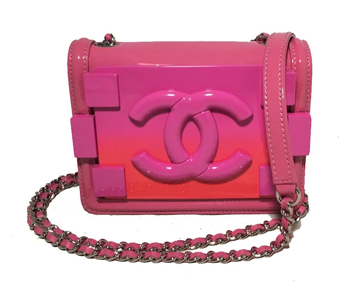 113386aeb5821b Chanel Pink Patent Leather Ombre Block Logo Mini Classic Flap Bag : Ladybag  | RubyLUX