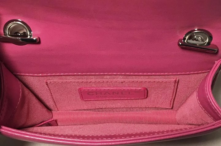 3525958a49ac Chanel Pink Patent Leather Ombre Block Logo Mini Classic Flap Bag ...