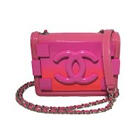 Chanel Pink Patent Leather Ombre Block Logo Mini Classic Flap Bag