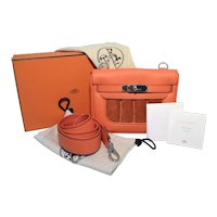 Hermes Orange Suede and Swift Leather Berline Bag