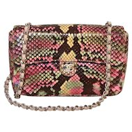 Chanel Multi Color Python Snakeskin Mini Classic Flap Shoulder Bag