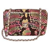 Chanel Multi Color Python Snakeskin Mini Classic Flap Shoulder Bag