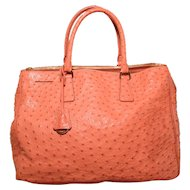 Prada Peach Coral Ostrich Leather Tote Bag