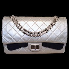 Chanel Silver Leather Jumbo 2.55 Double Flap Classic Shoulder Bag