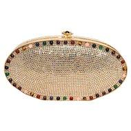 Judith Leiber Swarovski Crystal Oval Multi-colored Gem Minaudiere