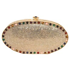 Judith Leiber Swarovski Crystal Oval Multi-colored Gem Minaudiere