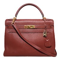 Hermes Ruby Rouge Garance 32cm Togo Leather Kelly Bag