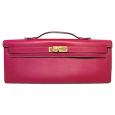 Hermes Kelly Cut Fuchsia Swift Leather Clutch Handbag