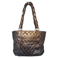 Chanel Dark Grey Distressed Leather Shopper Tote Shoulder Bag
