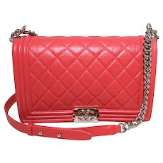 68cf82e90f7a Chanel Cherry Red Perforated Leather Classic Flap Boy Bag
