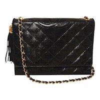 Chanel Vintage Black Lizard Leather Side Tassel Shoulder Bag