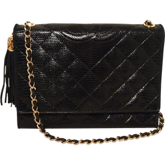Chanel Vintage Black Lizard Leather Side Tassel Shoulder Bag